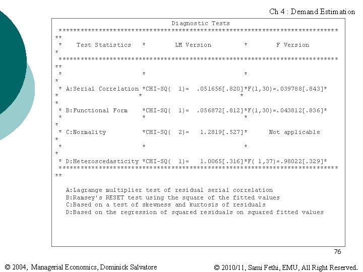 Ch 4 : Demand Estimation Diagnostic Tests *************************************** ** * Test Statistics * LM