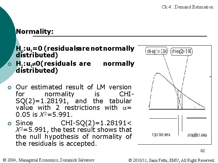 Ch 4 : Demand Estimation ¡ Normality: ¡ Ho: ut=0 (residualsare not normally distributed)