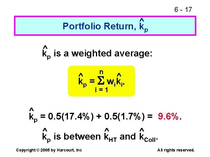 6 - 17 ^ Portfolio Return, kp ^ kp is a weighted average: n