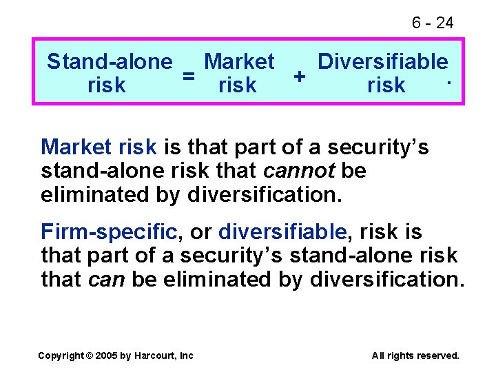 6 - 24 Stand-alone Market Diversifiable = risk +. risk Market risk is that