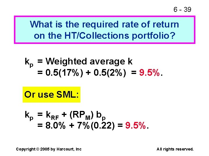 6 - 39 What is the required rate of return on the HT/Collections portfolio?