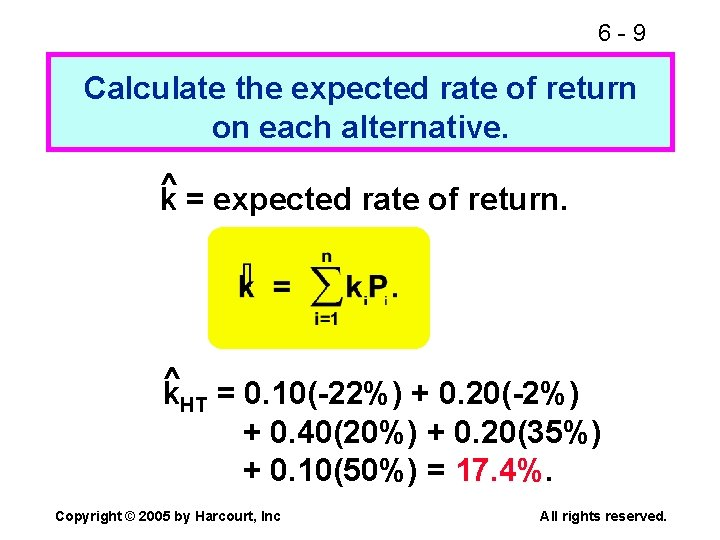 6 -9 Calculate the expected rate of return on each alternative. ^ k =