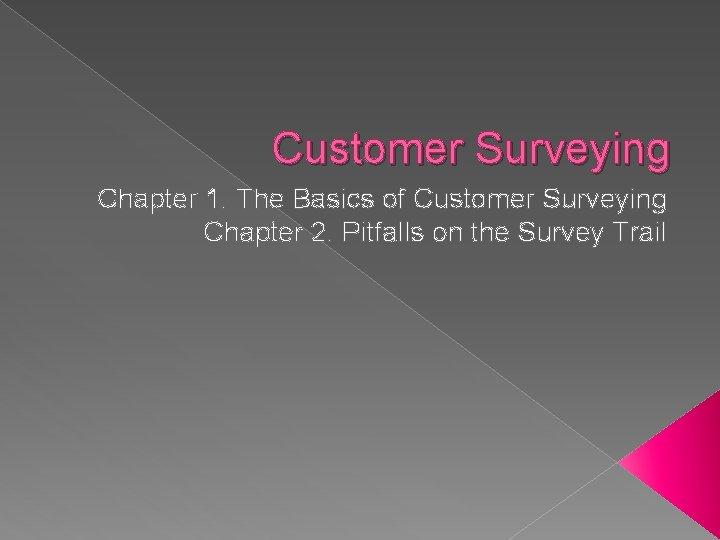 Customer Surveying Chapter 1. The Basics of Customer Surveying Chapter 2. Pitfalls on the