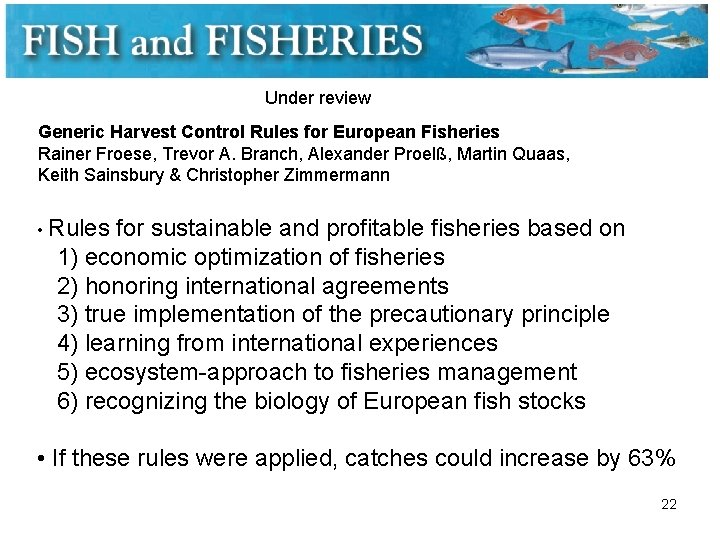 Under review Generic Harvest Control Rules for European Fisheries Rainer Froese, Trevor A. Branch,