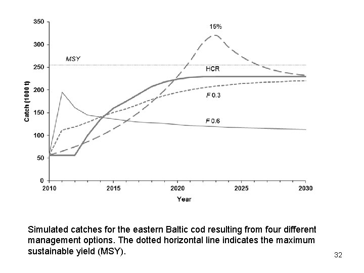 Simulated catches for the eastern Baltic cod resulting from four different management options. The