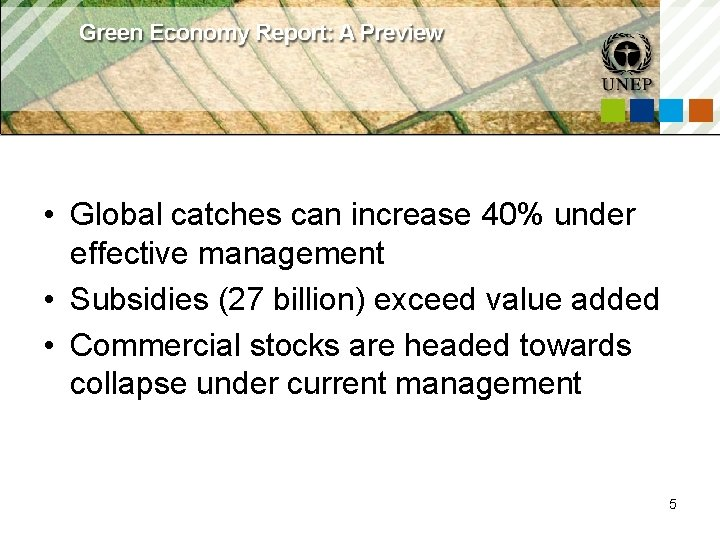 • Global catches can increase 40% under effective management • Subsidies (27 billion)