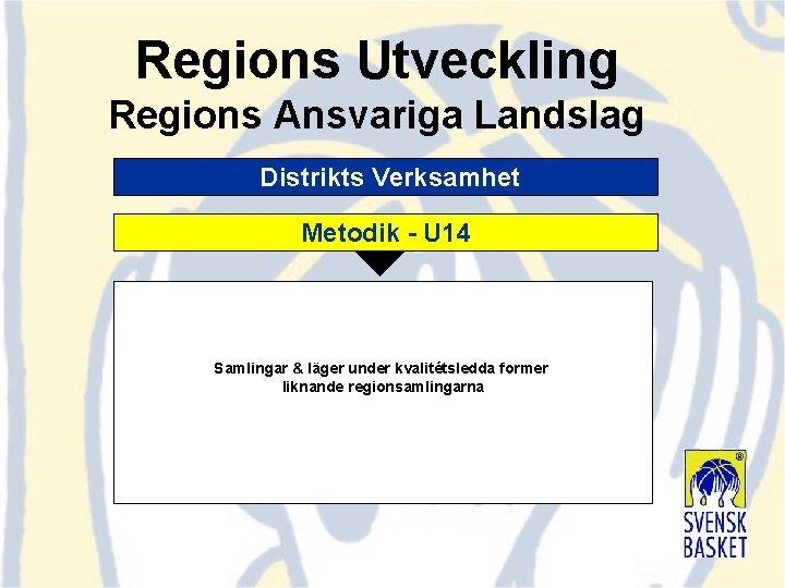 Regions Utveckling Regions Ansvariga Landslag Distrikts Verksamhet Metodik - U 14 Samlingar & läger