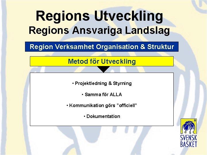 Regions Utveckling Regions Ansvariga Landslag Region Verksamhet Organisation & Struktur Metod för Utveckling •
