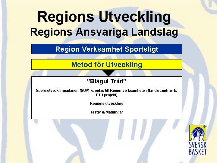 """Regions Utveckling Regions Ansvariga Landslag Region Verksamhet Sportsligt Metod för Utveckling """"Blågul Tråd"""" Spelarutvecklingsplanen"""