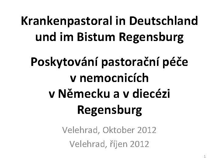 Krankenpastoral in Deutschland und im Bistum Regensburg Poskytování pastorační péče v nemocnicích v Německu