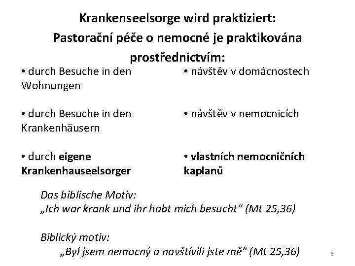 Krankenseelsorge wird praktiziert: Pastorační péče o nemocné je praktikována prostřednictvím: • durch Besuche in