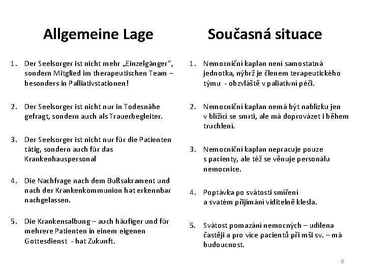 """Allgemeine Lage Současná situace 1. Der Seelsorger ist nicht mehr """"Einzelgänger"""", sondern Mitglied im"""