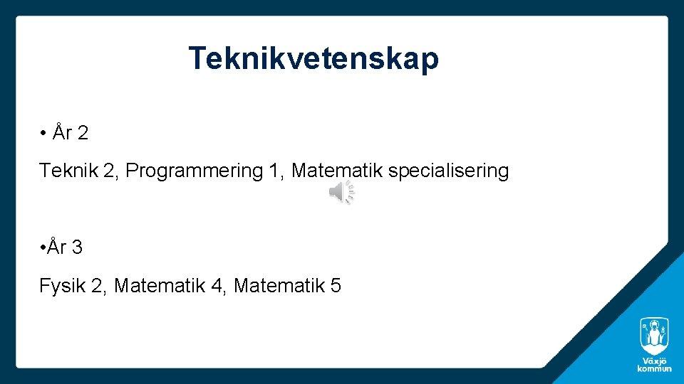 Teknikvetenskap • År 2 Teknik 2, Programmering 1, Matematik specialisering • År 3 Fysik