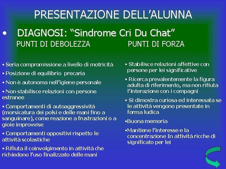 """PRESENTAZIONE DELL'ALUNNA • DIAGNOSI: """"Sindrome Cri Du Chat"""" PUNTI DI DEBOLEZZA • Seria compromissione"""