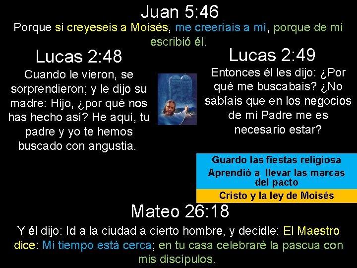 Juan 5: 46 Porque si creyeseis a Moisés, me creeríais a mí, porque de