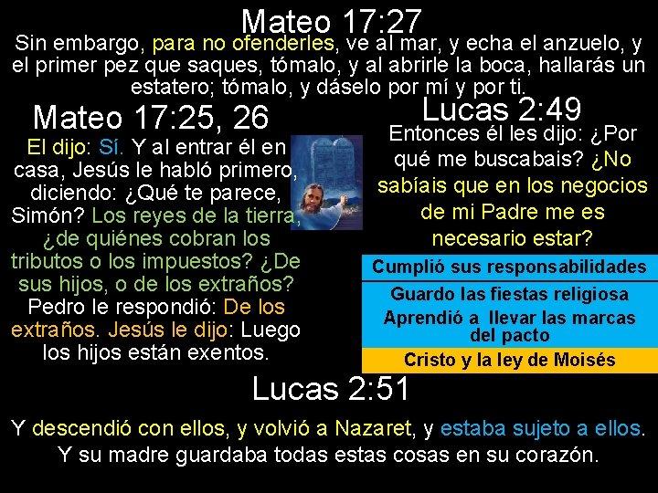 Mateo 17: 27 Sin embargo, para no ofenderles, ve al mar, y echa el