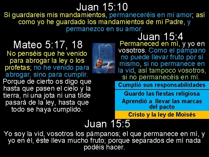Juan 15: 10 Si guardareis mandamientos, permaneceréis en mi amor; así como yo he