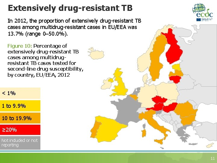Extensively drug-resistant TB In 2012, the proportion of extensively drug-resistant TB cases among multidrug-resistant