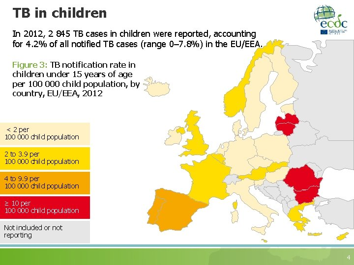 TB in children In 2012, 2 845 TB cases in children were reported, accounting