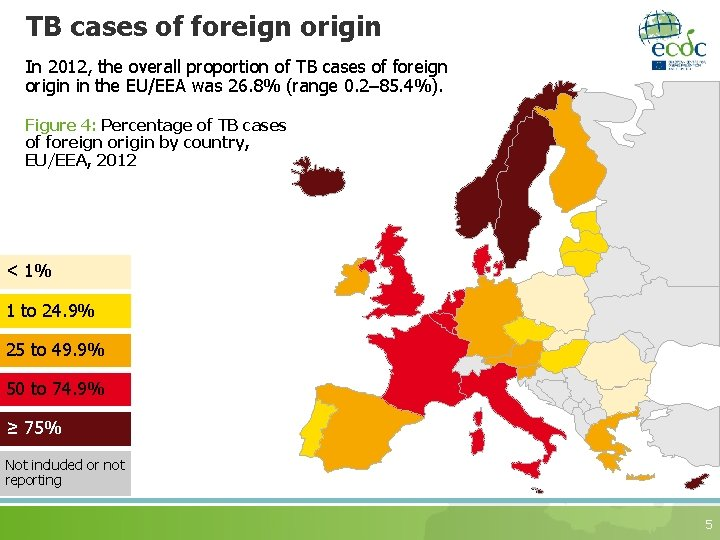 TB cases of foreign origin In 2012, the overall proportion of TB cases of