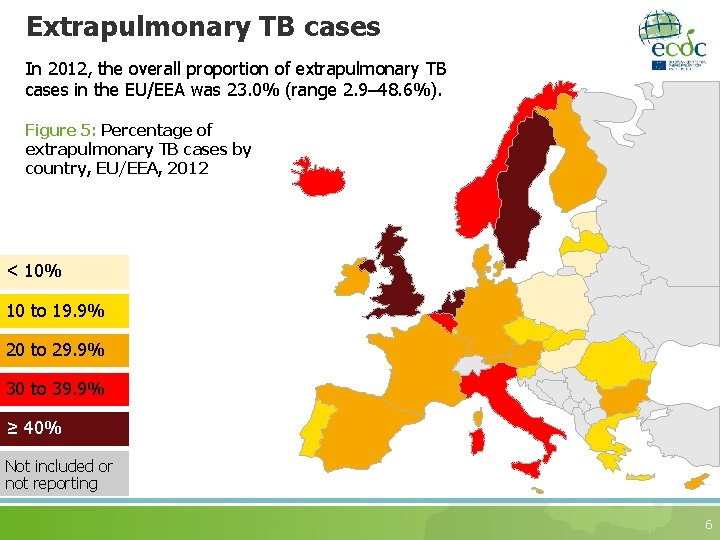 Extrapulmonary TB cases In 2012, the overall proportion of extrapulmonary TB cases in the