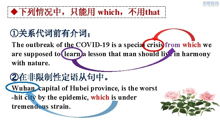 u下列情况中,只能用 which,不用that ①关系代词前有介词; The outbreak of the COVID-19 is a special crisis from which