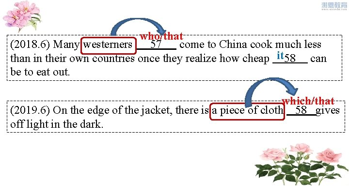 who/that (2018. 6) Many westerners 57 come to China cook much less than in
