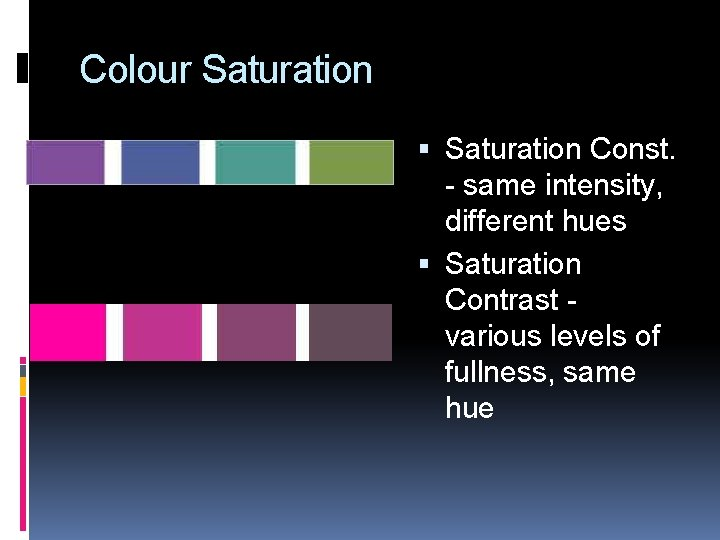 Colour Saturation Const. - same intensity, different hues Saturation Contrast various levels of fullness,