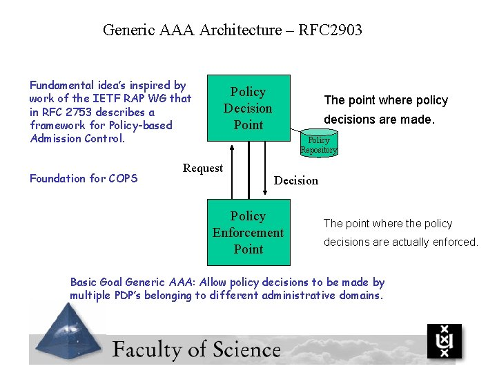 Generic AAA Architecture – RFC 2903 Fundamental idea's inspired by work of the IETF