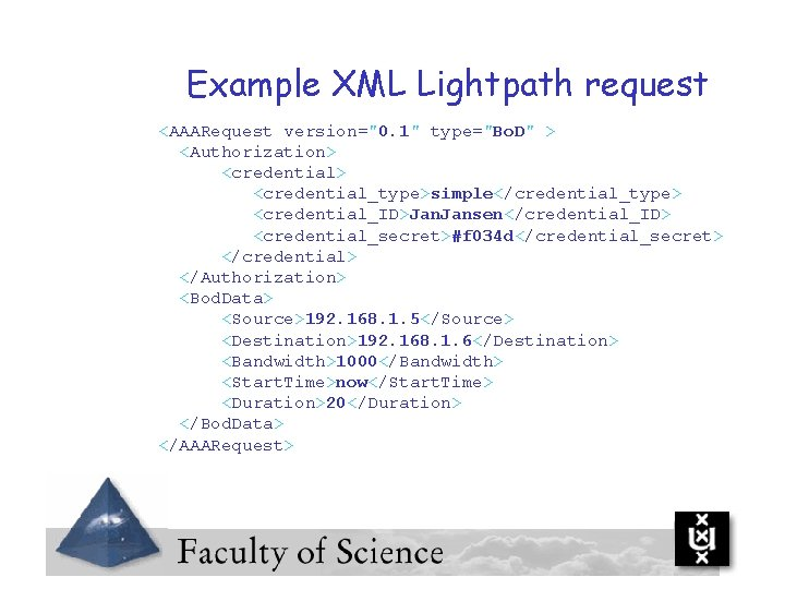 """Example XML Lightpath request <AAARequest version=""""0. 1"""" type=""""Bo. D"""" > <Authorization> <credential> <credential_type>simple</credential_type> <credential_ID>Jan."""