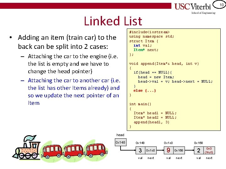 10 Linked List • Adding an item (train car) to the back can be