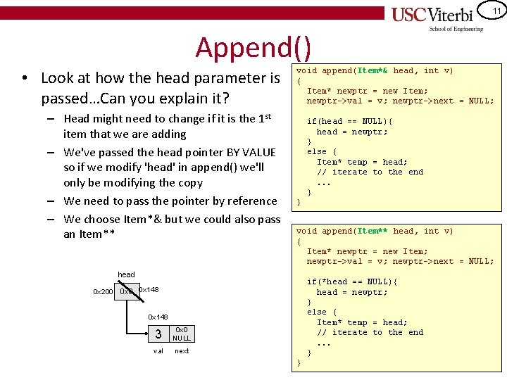 11 Append() • Look at how the head parameter is passed…Can you explain it?