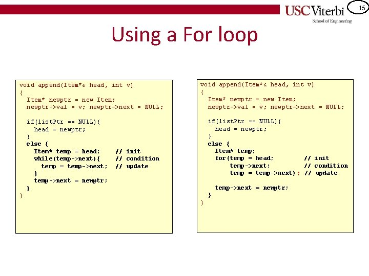 15 Using a For loop void append(Item*& head, int v) { Item* newptr =