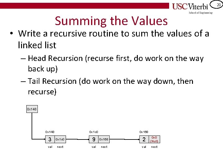 20 Summing the Values • Write a recursive routine to sum the values of