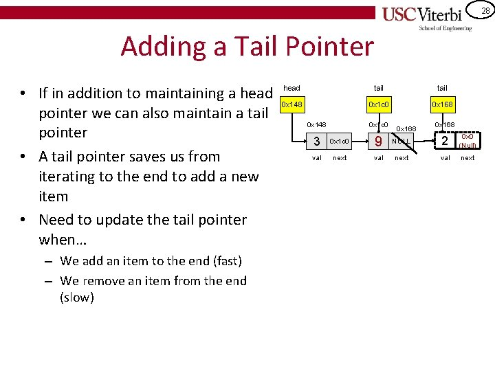 28 Adding a Tail Pointer • If in addition to maintaining a head pointer