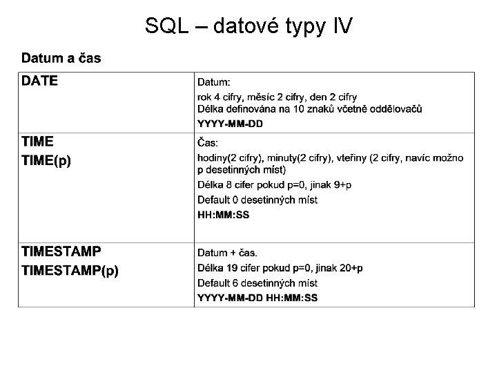 SQL – datové typy IV