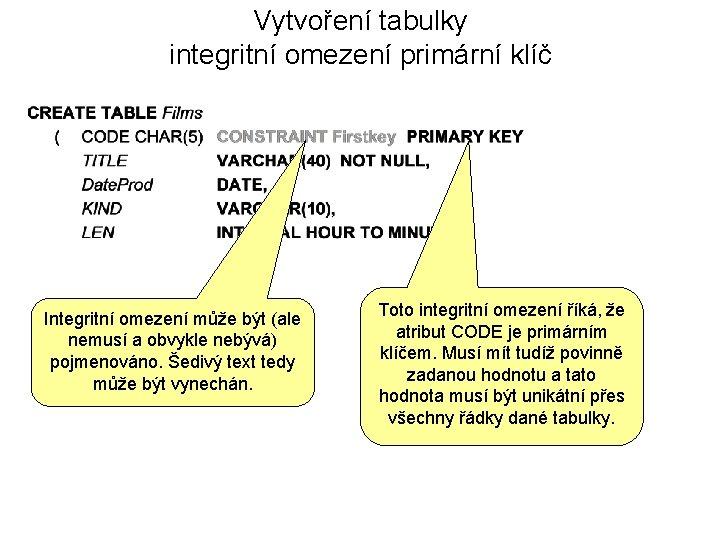 Vytvoření tabulky integritní omezení primární klíč Integritní omezení může být (ale nemusí a obvykle