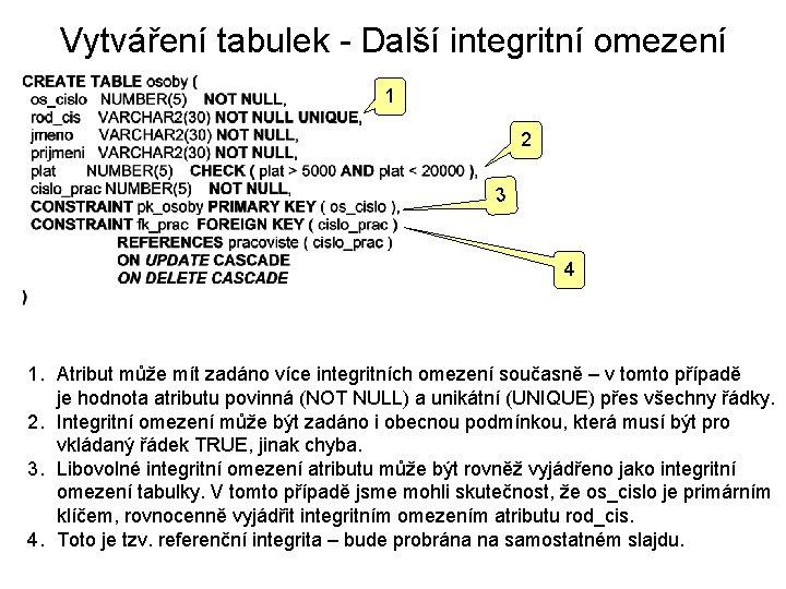Vytváření tabulek - Další integritní omezení 1 2 3 4 1. Atribut může mít