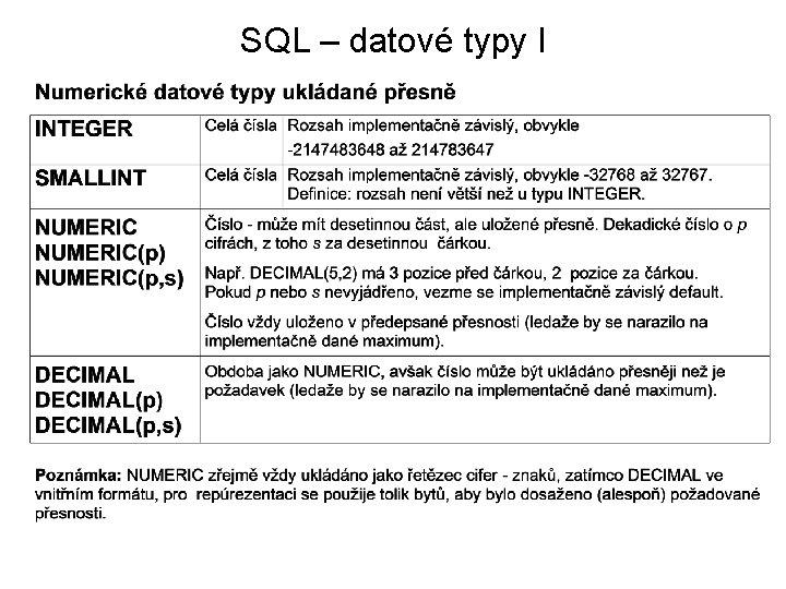 SQL – datové typy I