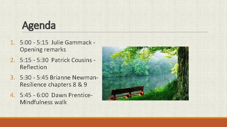 Agenda 1. 5: 00 - 5: 15 Julie Gammack Opening remarks 2. 5: 15