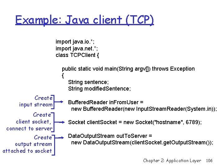 Example: Java client (TCP) import java. io. *; import java. net. *; class TCPClient