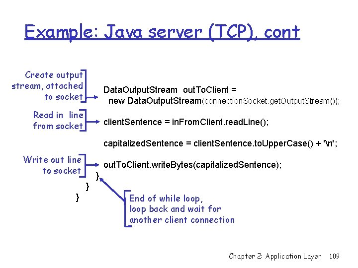 Example: Java server (TCP), cont Create output stream, attached to socket Data. Output. Stream
