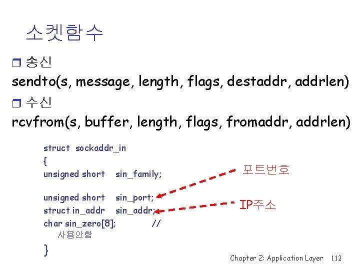 소켓함수 r 송신 sendto(s, message, length, flags, destaddr, addrlen) r 수신 rcvfrom(s, buffer, length,