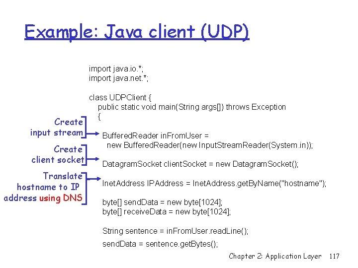 Example: Java client (UDP) import java. io. *; import java. net. *; Create input