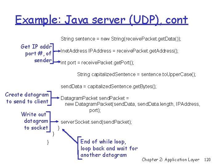 Example: Java server (UDP), cont String sentence = new String(receive. Packet. get. Data()); Get