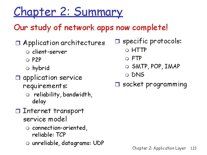 Chapter 2: Summary Our study of network apps now complete! r Application architectures m
