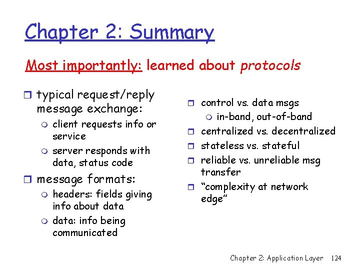 Chapter 2: Summary Most importantly: learned about protocols r typical request/reply message exchange: m