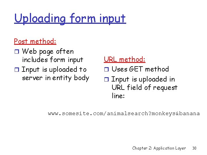 Uploading form input Post method: r Web page often includes form input r Input