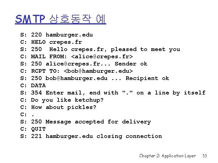 SMTP 상호동작 예 S: C: S: C: C: C: S: 220 hamburger. edu HELO