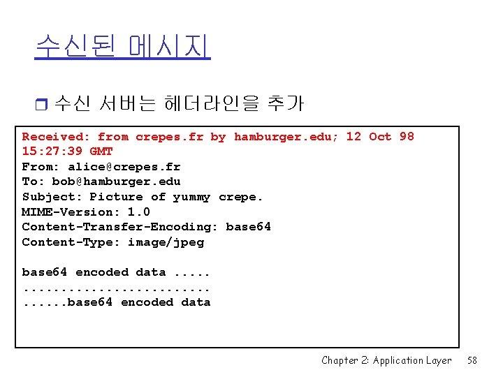 수신된 메시지 r 수신 서버는 헤더라인을 추가 Received: from crepes. fr by hamburger. edu;